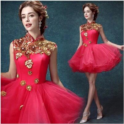 天使嫁衣【AE1031】粉紅色中國風立體雕花俏皮短禮服˙下架