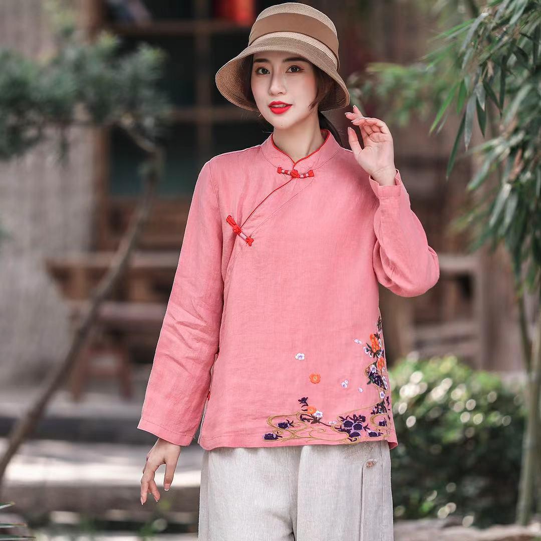 刺繡上衣女立領斜襟盤扣女裝復古中國風漢服茶服小衫
