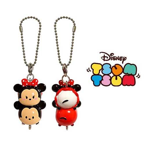 米奇+米妮【日本進口正版】迪士尼 TSUM TSUM 立體吊飾 珠鍊鎖圈 Disney 疊疊樂 米老鼠 - 602794