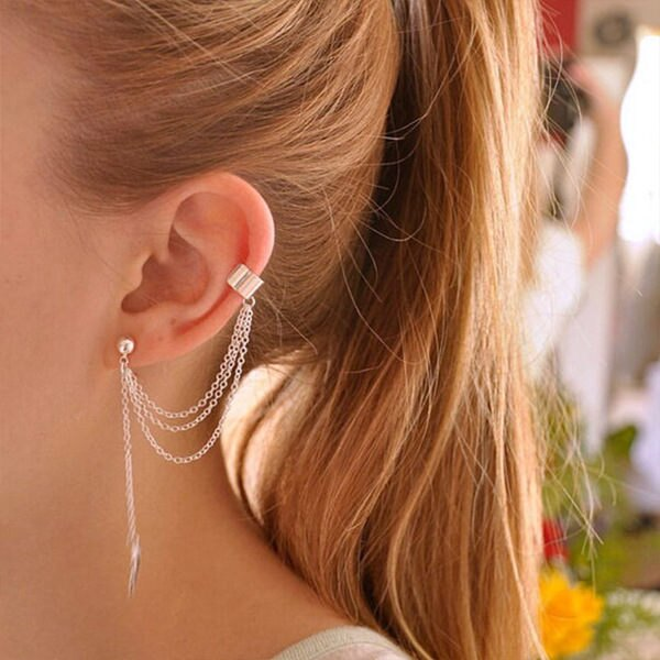 PS Mall 金屬樹葉葉子流蘇耳釘耳夾耳環 【G2362】