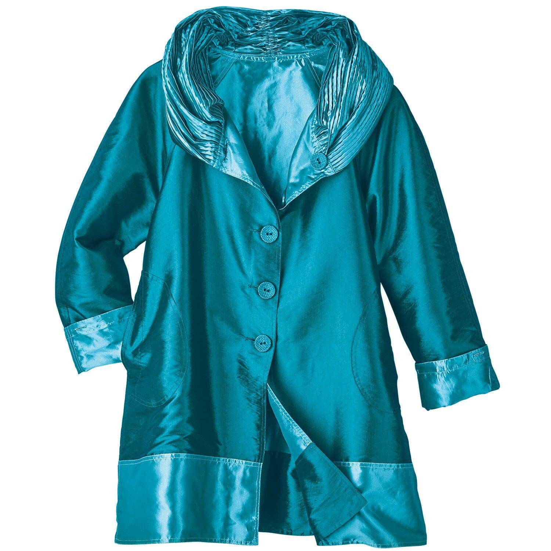 3069120c23f8 Lindi Women s Reversible Rain Coat - Iridescent Hooded Rain Jacket - Aqua  ...