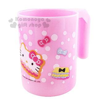 〔小禮堂〕Hello Kitty 塑膠漱口杯《粉.點點.大臉褲.蝴蝶結》把手上可放一隻牙刷