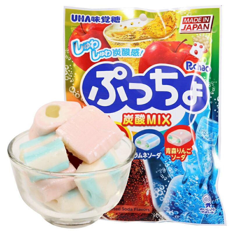 【UHA味覺糖】 Puccho噗啾3種類軟糖-綜合碳酸汽水 90g 可樂/彈珠汽水/青森蘋果蘇打 日本進口糖果