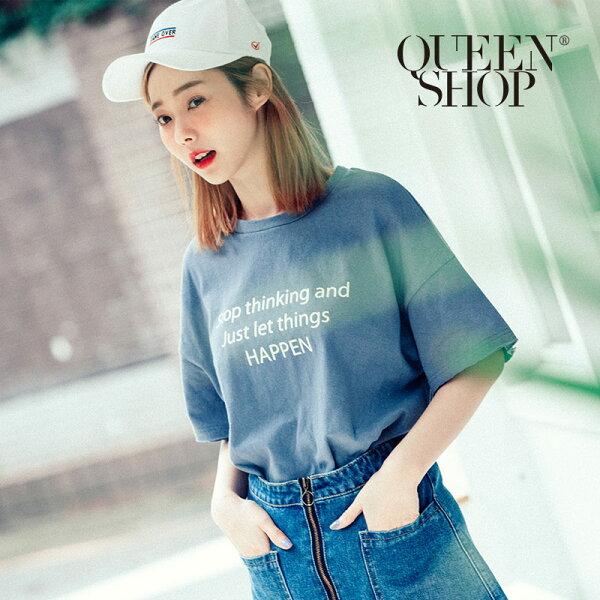 QueenShop【01037069】不收邊英文字母寬版短T兩色售*預購*