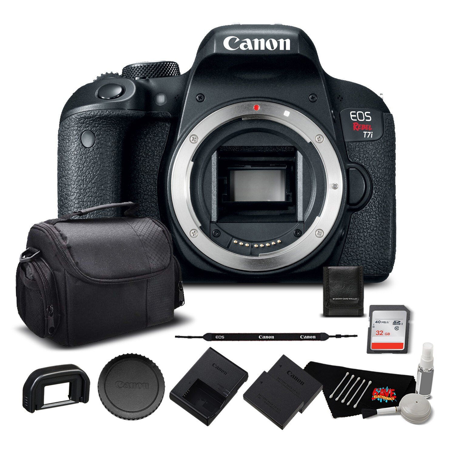 6ave Electronics: Canon EOS Rebel T7i Digital SLR Camera (Body Only) 1894C001 - Bundle with 32GB