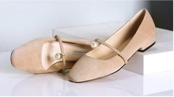 Pyf♥優雅甜美絨面一字小珍珠低跟淑女休閒鞋43大尺碼女鞋