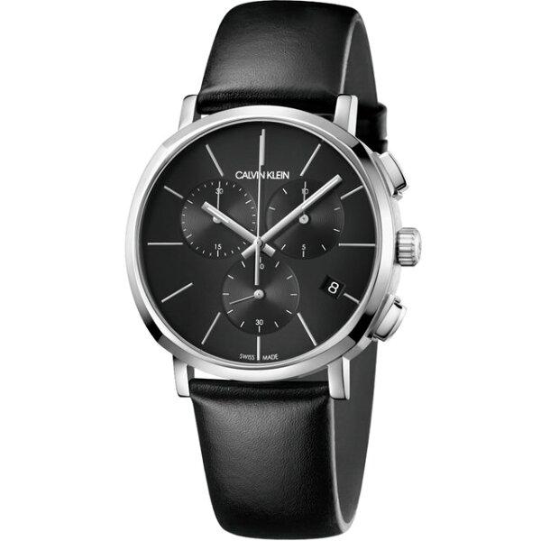 Calvinklein卡文克萊潮流系列(K8Q371C1)三眼簡約時尚腕錶銀黑42mm
