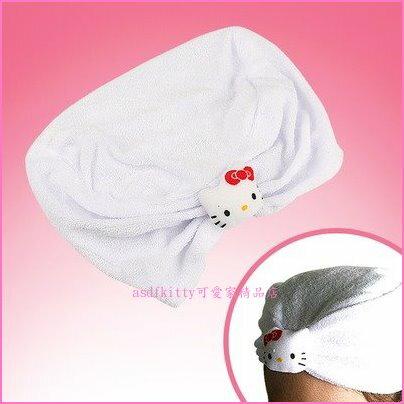 asdfkitty可愛家☆KITTY吸水浴帽-可當化妝髮帽-日本正版商品