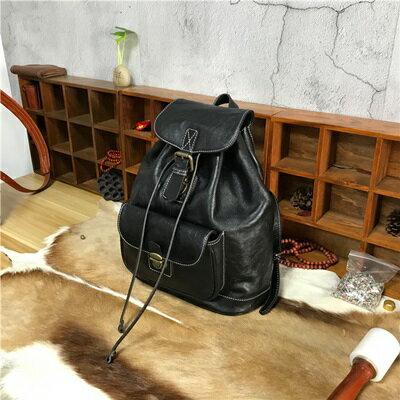 ☆後背包植鞣皮雙肩包-簡約純色復古旅行女包包3色73sv5【獨家進口】【米蘭精品】