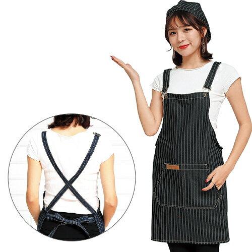 牛仔布口袋圍裙61X69cm(藍) [大買家] 2