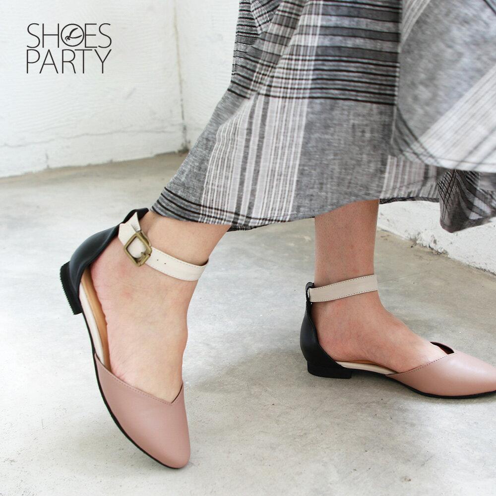 【S2-19305L】寬腳版可穿,配色腳踝帶真皮便鞋_Shoes Party 3