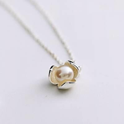 ~~925純銀~項鍊 珍珠吊墜~ 高貴大方唯美母親節生日情人節 女飾品73as8~ ~~米