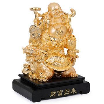 吉善緣 財富歸來彌勒佛擺件 龍龜佛像擺設家居風水裝飾品 0005