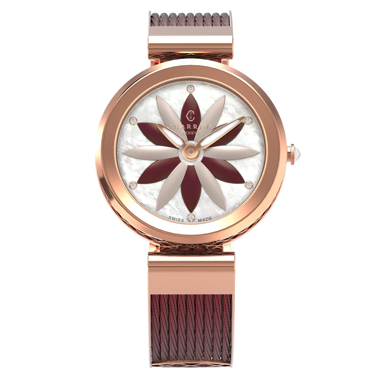 CHARRIOL夏利豪(FE32.R02.0R2)Forever系列半鋼索花朵時尚腕錶/珍珠母貝面32mm