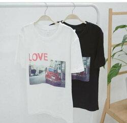 FINDSENSE品牌 日系 男 時尚潮流 休閒 寬鬆 特色LOVE印花 短袖T恤 特色短T