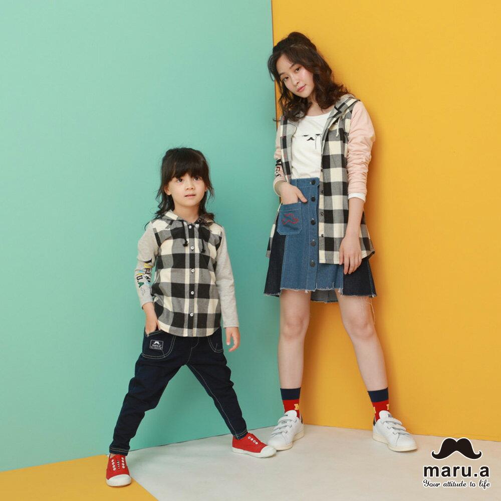 【maru.a】親子款多色印花袖格子休閒帽T-SHIRT(2色)8923112 / 8953111 2