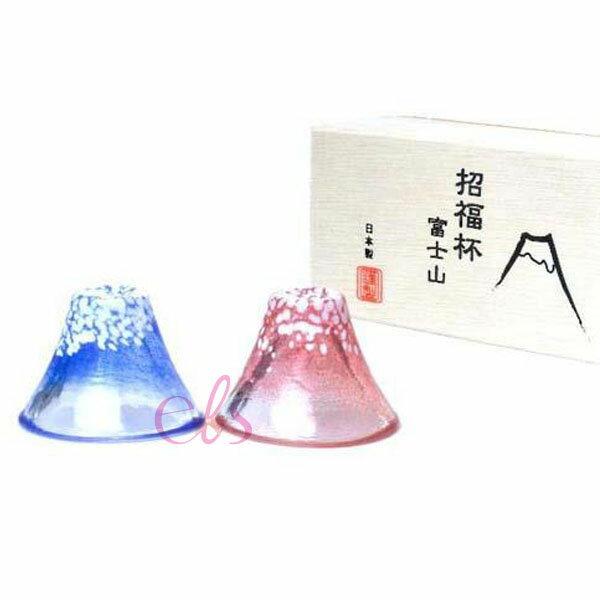 日本製 富士山 招福冷酒杯 紅+藍 一對入 ☆艾莉莎ELS☆