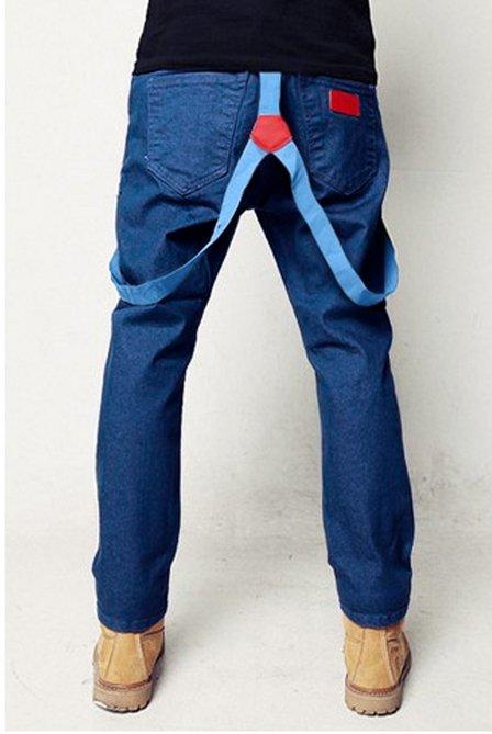 【JP.美日韓】簡約 吊帶褲 褲款 牛仔 連身 吊帶 彈性牛仔 藍色吊帶褲 男