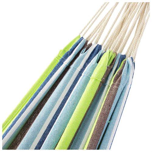 Double Hammock w/ Steel Stand, Carrying Case - Blue, Green Stripe 1