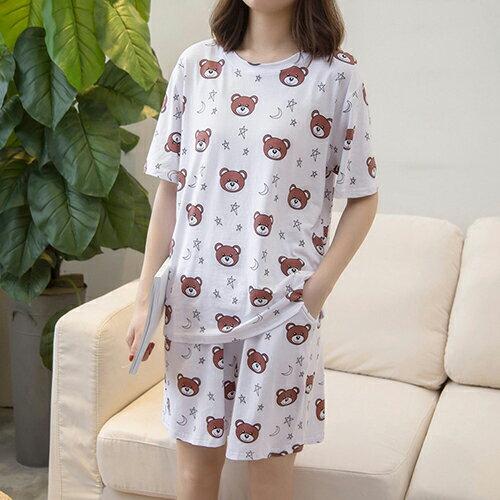 純棉短袖短褲家居服兩件套裝(2色XL~4XL)【OREAD】 1