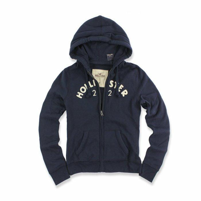 美國百分百【全新真品】Hollister Co. 外套 HCO 連帽 長袖 夾克 海鷗 刷毛 深藍 女款 M號 I578