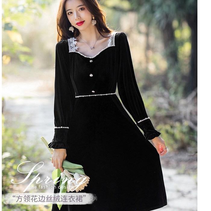 絲絨黑白配色香風方領氣質宴會春酒洋裝[99156-QF]灰姑娘
