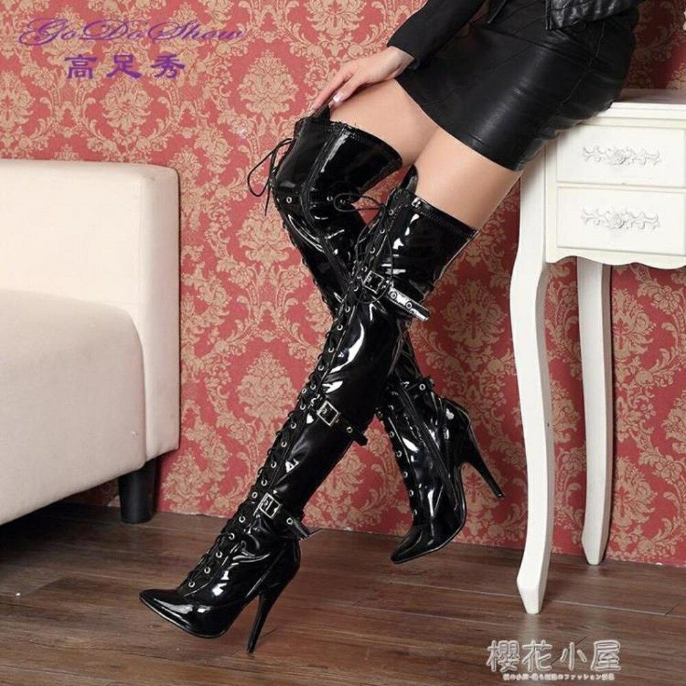 性感繫帶彈力騎士靴長筒靴子韓版超高跟長靴女膝上靴細跟秋冬季女鞋林之舍家居