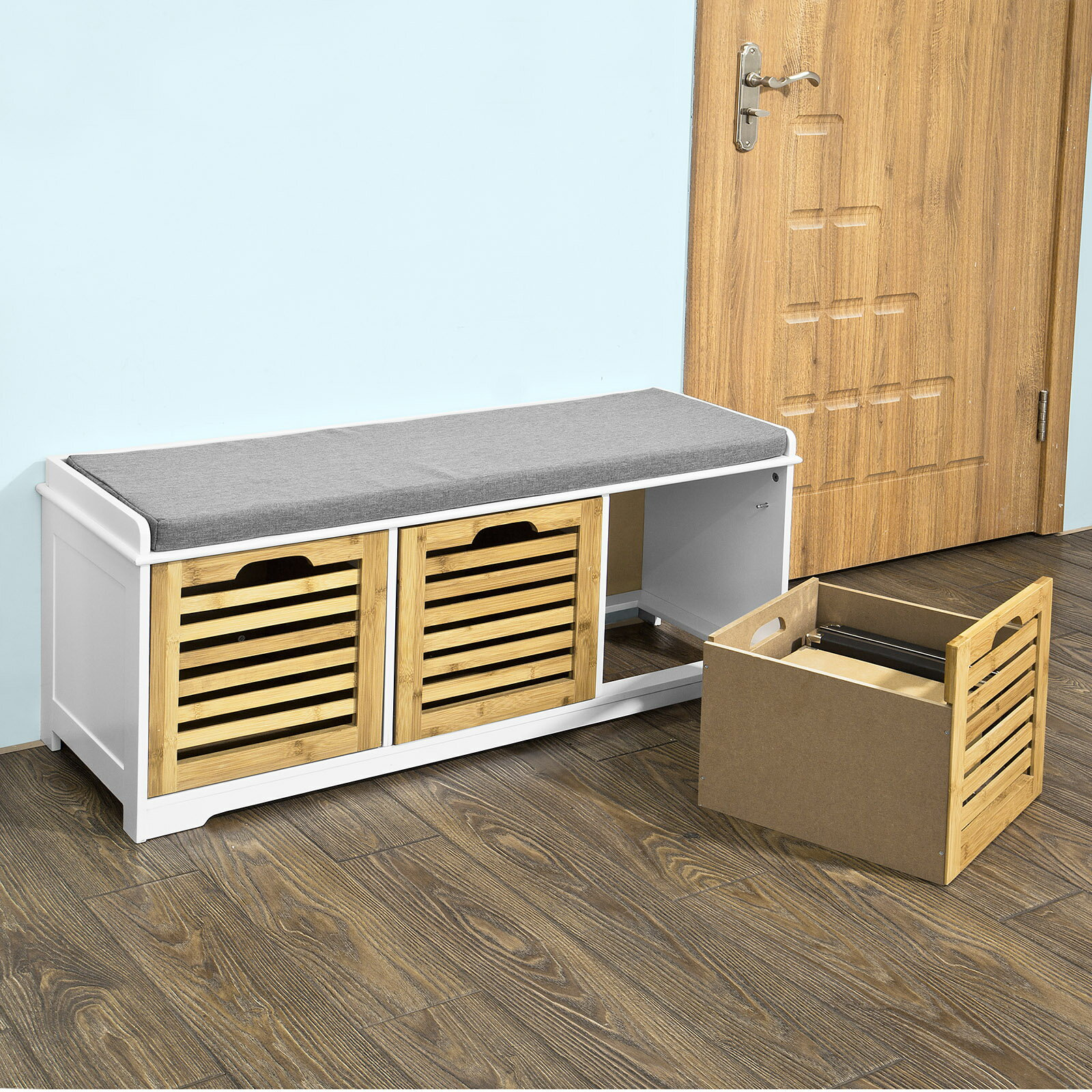 Haotian Fsr23 Wn Storage Bench With 3 Crates Shoe Cabinet