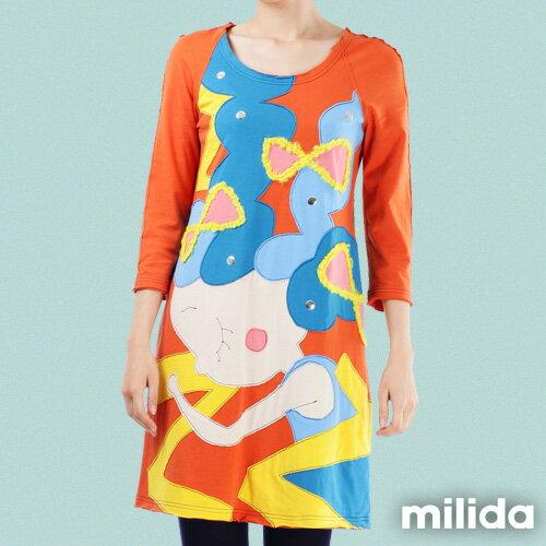 【milida】MMRYEA015☆貪睡女孩拼貼洋裝 1