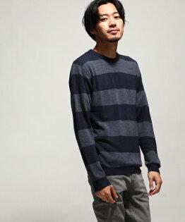 圓領毛衣03深藍橫條紋