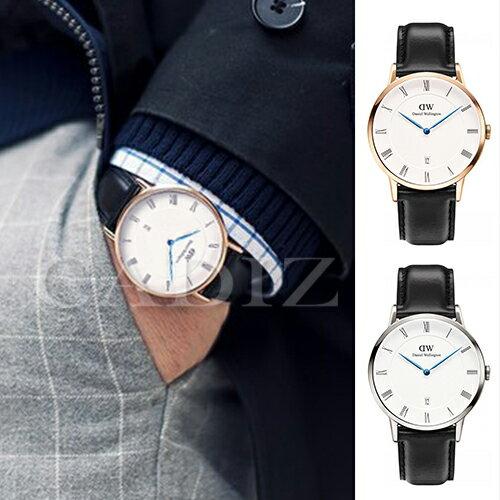 【Cadiz】瑞典正品 Daniel Wellington DW錶 1101DW金1121DW銀 Dapper Sheffield 3.8MM 黑色皮革 羅馬藍色指針日期窗 新款 對錶 情侶錶 男女錶  [代購/ 現貨]