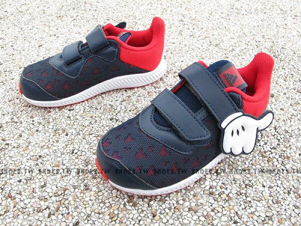 Shoestw【CQ0111】ADIDASMickeyFortaRun童鞋小童迪士尼米奇深藍紅白黏帶