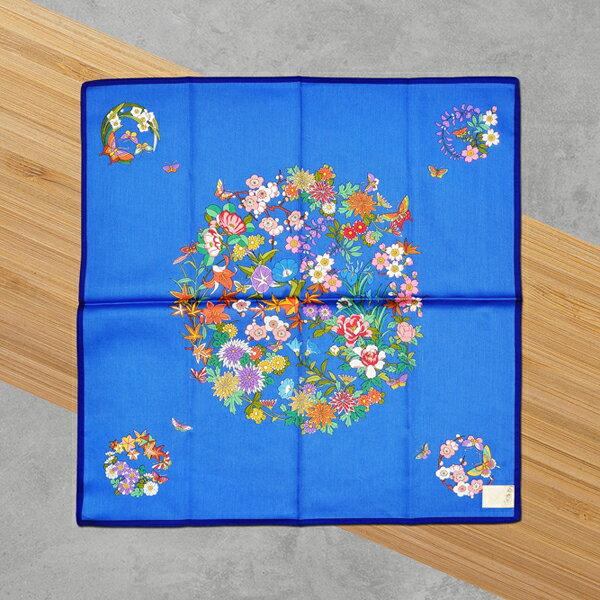 HYI 家居生活館:日本集采苑-Flower百花繚乱手帕方巾頭巾(藍)《日本設計製造》《全館免運費》