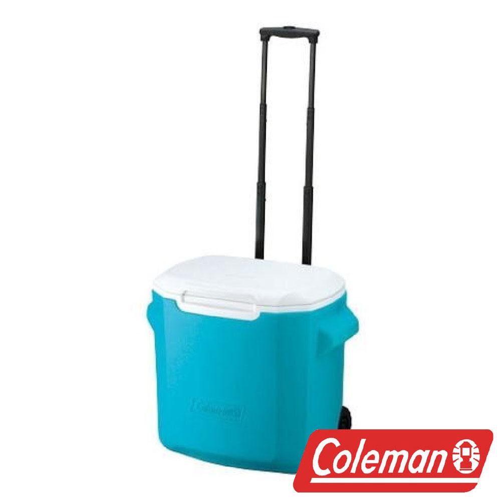 【美國Coleman】拖輪冰箱 26.5L-天空藍 CM-0029J 露營 冰桶 保冷 保溫 保冰