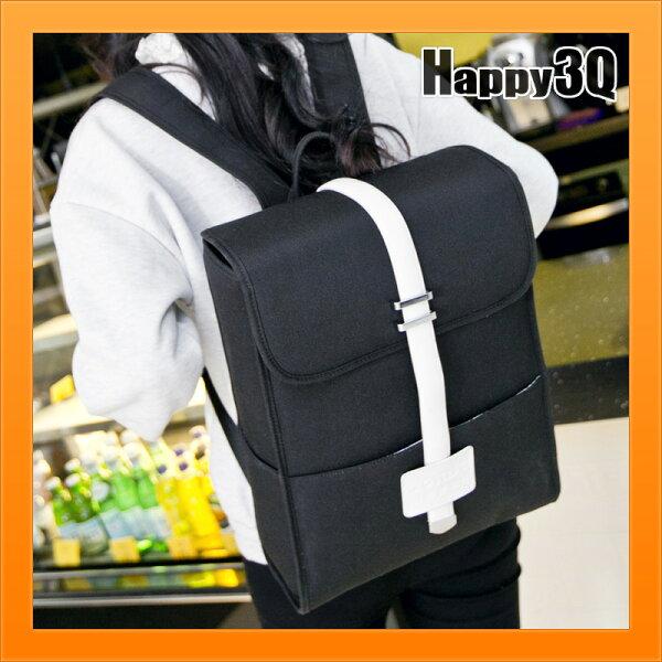 個性包雙肩包後背包日韓休閒包包十字架簡約撞色書包學生背包-黑藍【AAA3931】
