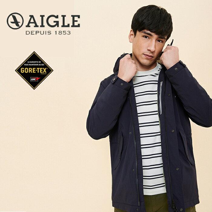 【AIGLE 法國】ACALIR GORE-TEX 防水保暖外套 防水外套 男款 深藍色 (AG-0A102-A057)