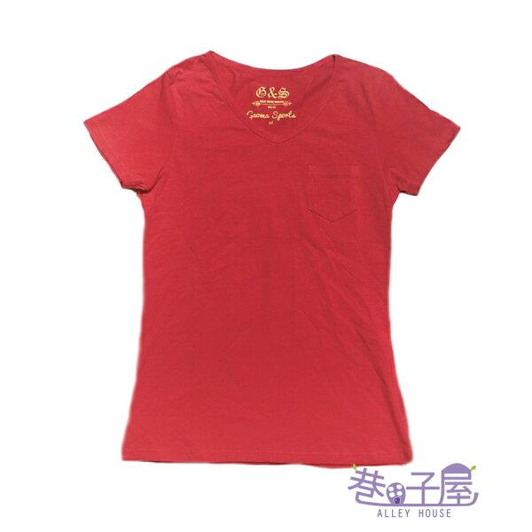 【巷子屋】GAOMA高馬女款小V領口袋造型素T-SHIRT[41624]紅超值價$198