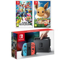 Deals on Nintendo Switch Console w/Neon Joycon Controllers + Smash Bros + Pokemon
