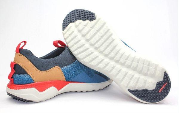 MERRELL 都會休閒款 避震氣墊 舒適耐走 直套式 免綁鞋帶 藍/卡其 男款 5