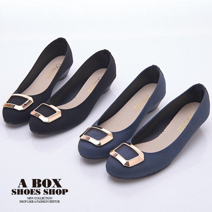 格子舖*【AW1280】MIT台灣製 簡約時尚絨布材質金屬框設計 3.5CM低粗跟 圓頭包鞋 2色