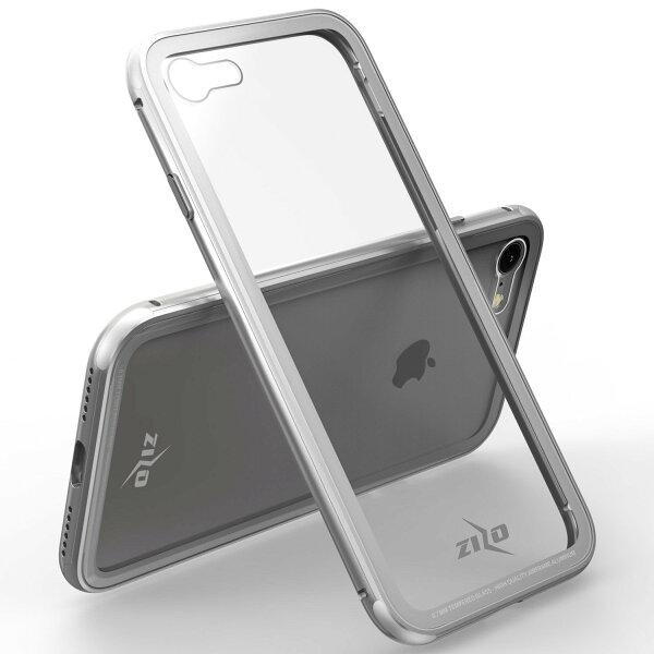 貝殼嚴選:【貝殼】ZizoBoltATOM系列iPhone8iPhone7手機殼防摔殼(贈非滿版玻璃貼)-銀色