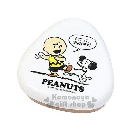 〔小禮堂〕史努比 日製三角飯糰便當盒《白棕.丟球.查理布朗》盒身可微波