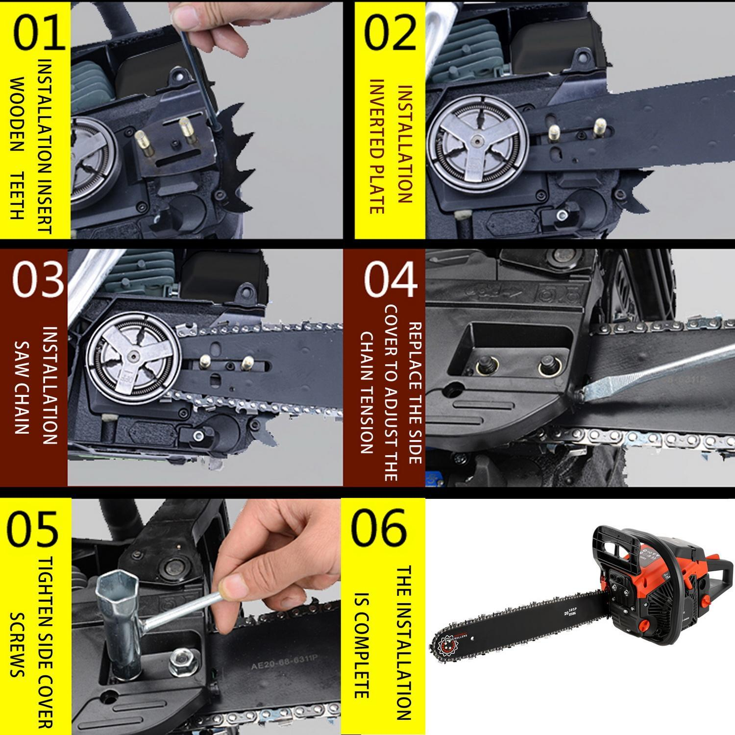Petrol Chainsaw Saw Blade With Chains, Bar Cover and Tool Kit Garden Home Use 4