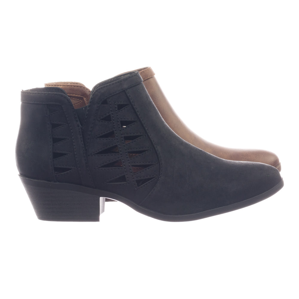 0fe01a8c887 Chance Black Pu by Soda Bikers Stack Heel Ankle Booties w V-Cut   Triangle