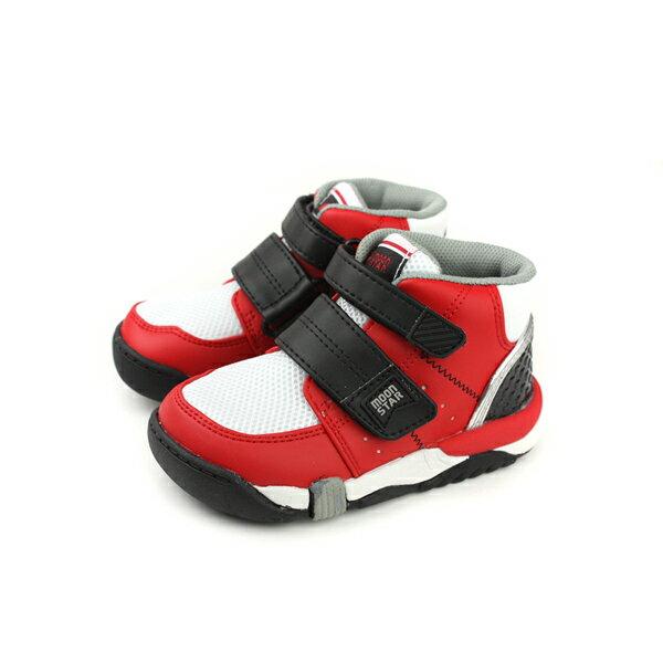 MoonStar運動鞋慢跑鞋高筒魔鬼氈紅白中童童鞋CRC21402no134