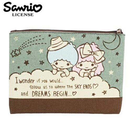 ~ ~雙子星 KIKILALA 帆布 扁筆袋 L號 鉛筆盒 筆袋 收納包 三麗鷗 Sanrio ~ 443870