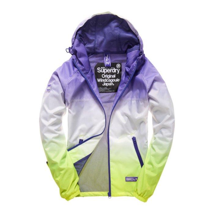 美國百分百【全新真品】Superdry 極度乾燥 輕量 防風 連帽 外套 網格 網眼 女 漸層 紫白亮黃 S號 H819
