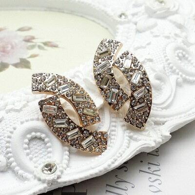 ~玫瑰金耳環925純銀鑲鑽耳飾~復古奢華 百搭情人節生日 女飾品2色73gs49~ ~~米