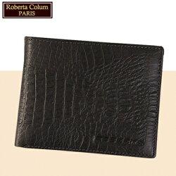 【Roberta Colum】諾貝達 男用皮夾 短夾 專櫃皮夾 進口歐洲鱷魚紋短夾 (黑色23551)【威奇包仔通】