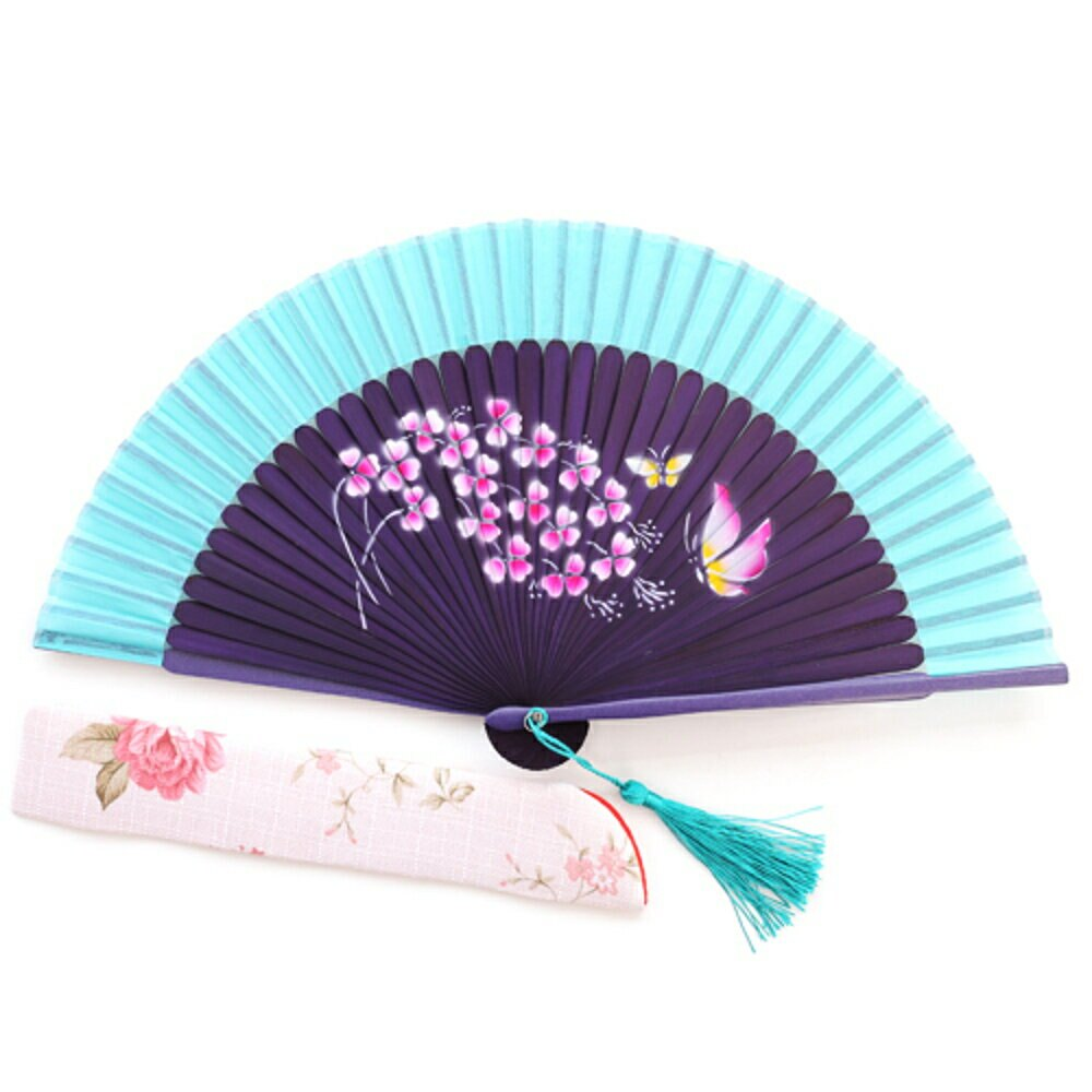 折疊扇中國風女工藝真絲扇子夏季舞蹈演出【櫻田川島】